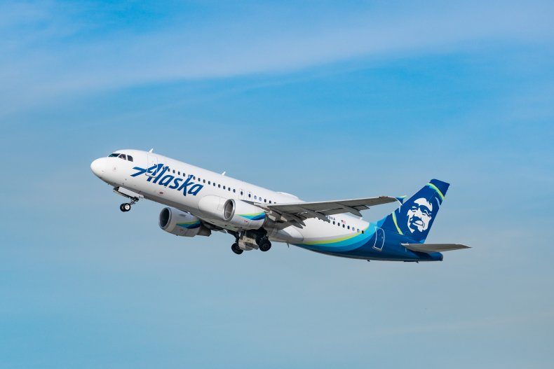 Alaska Airlines aircraft takes off