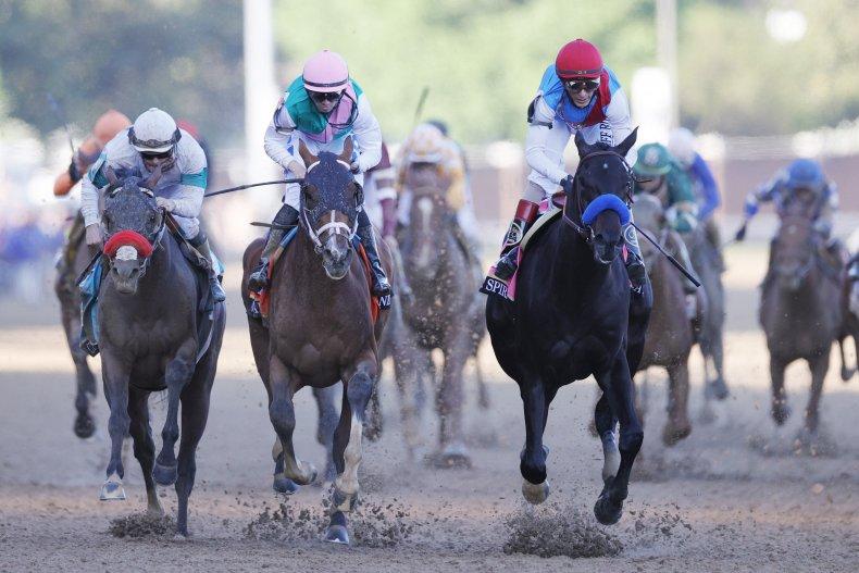 Medina Spirit winning the Kentucky Derby
