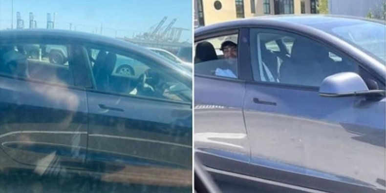 Man in backseat of self-driving Tesla.