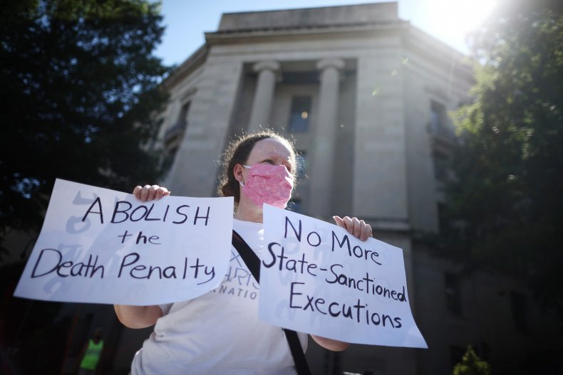 A person protests the death penalty