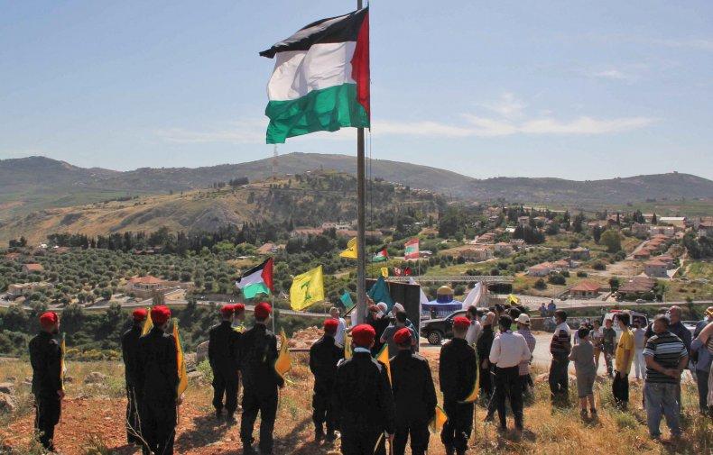 hezbollah, lebanon, border, israel, palestinian, flag