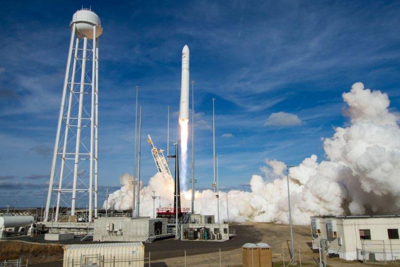 A rocket at NASA's Wallops Flight Facility