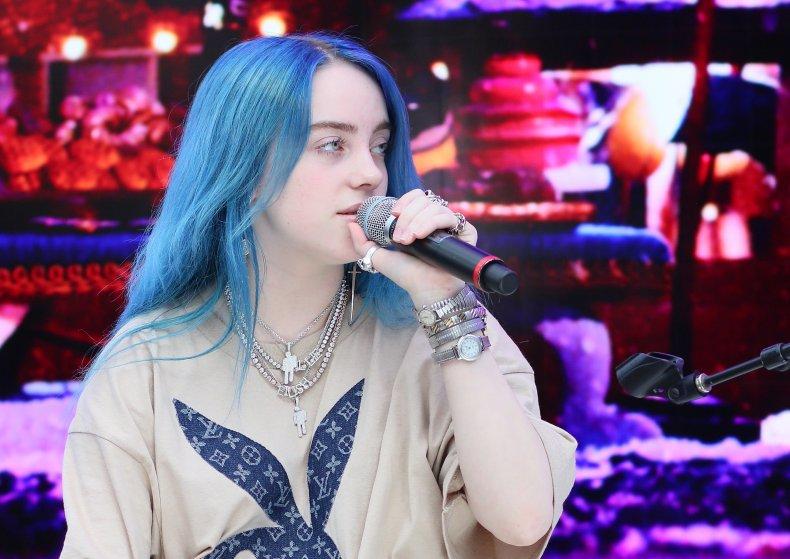 Billie Eilish sporting ocean blue hair