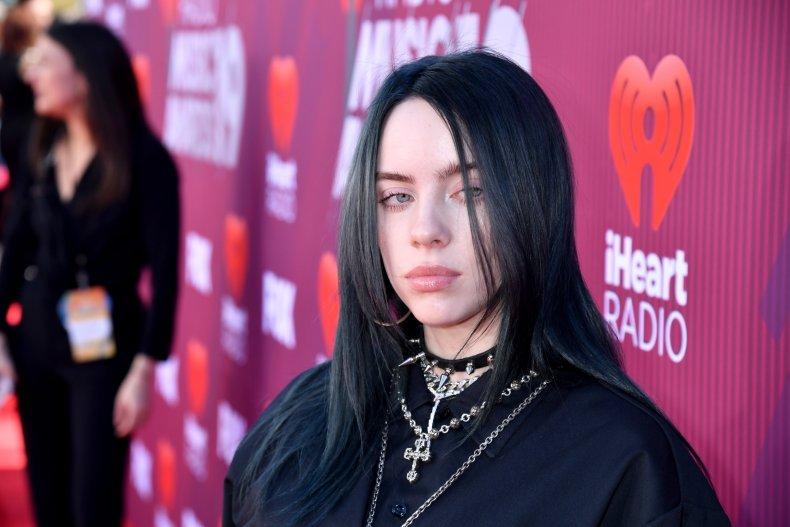 Billie Eilish sporting jet black hair