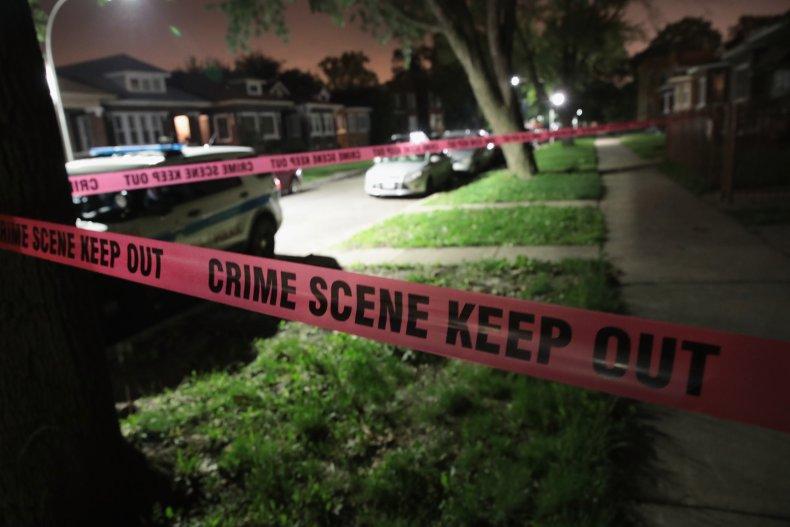 Tape encircles a crime scene in Chiago.