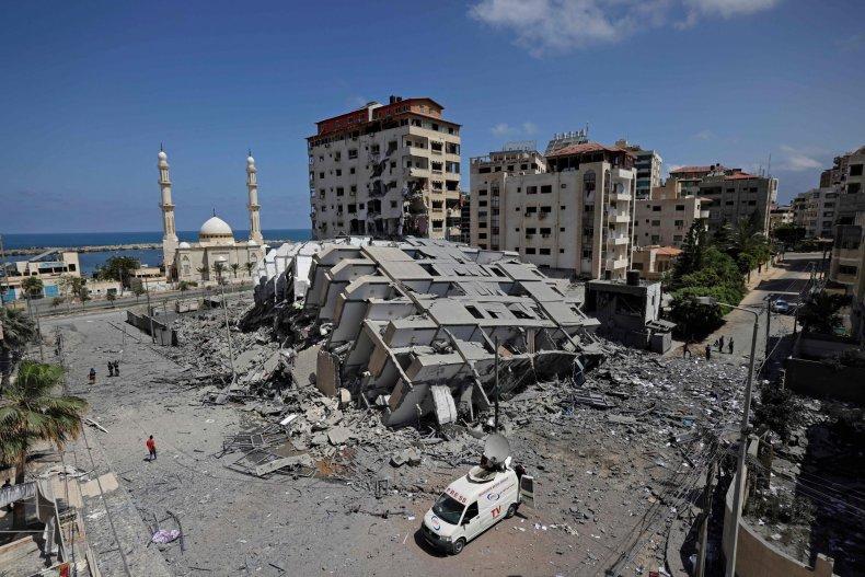 Israeli Rocket Strikes Level Building