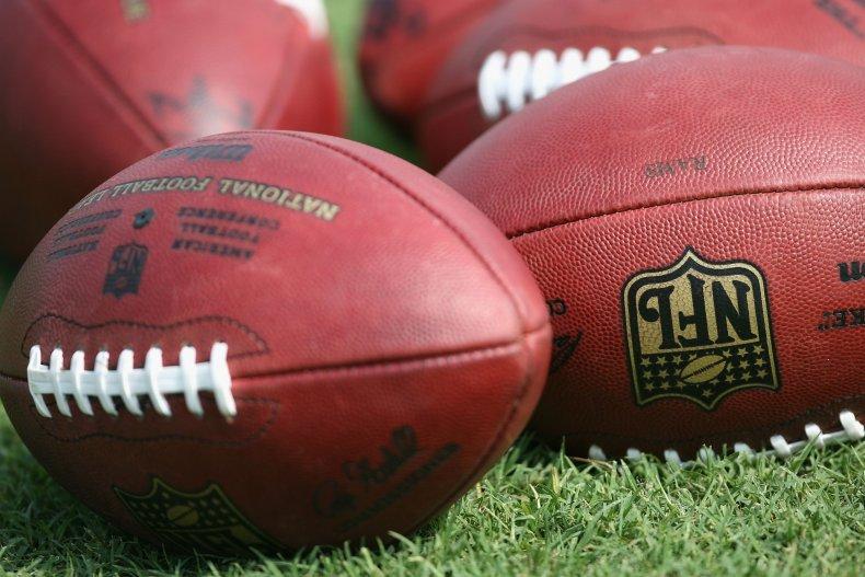 Footballs at Rams Training Camp
