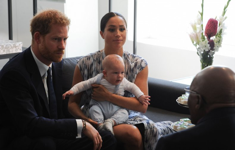 Harry, Meghan and Archie with Desmond Tutu