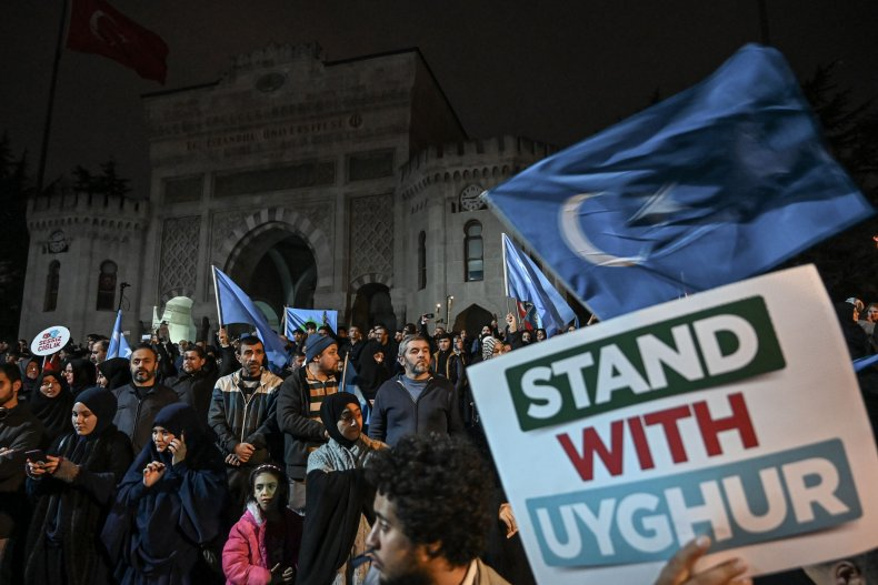 Supporters of China's Muslim Uyghurs