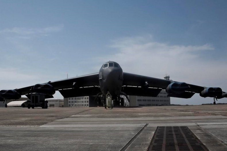 B-52 flying hypersonic missile system