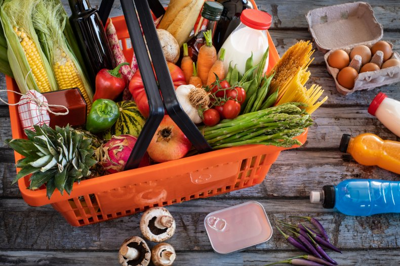 Shopping basket filled with foods from supermarket.