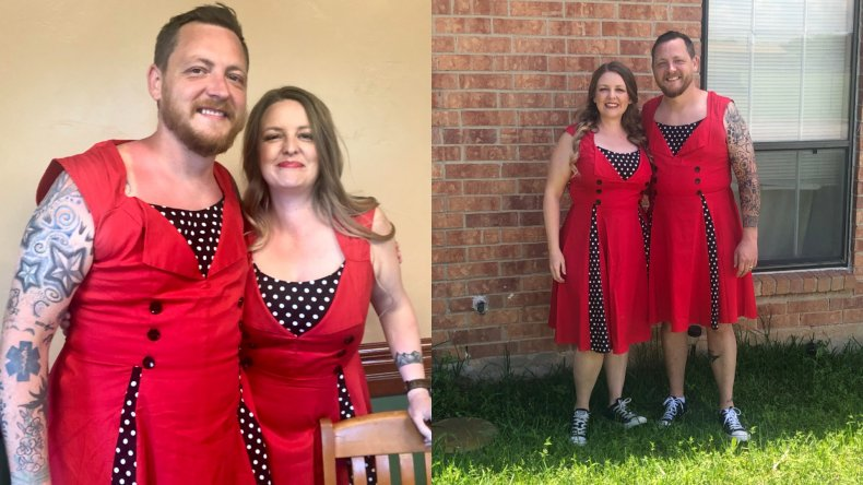 Martin wore matching dresses with his sister
