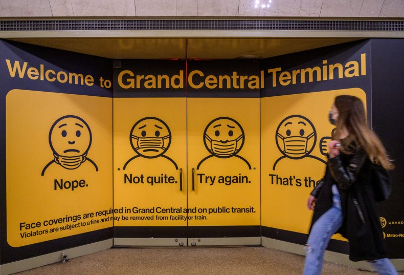 A Mask Sign at Grand Central Station