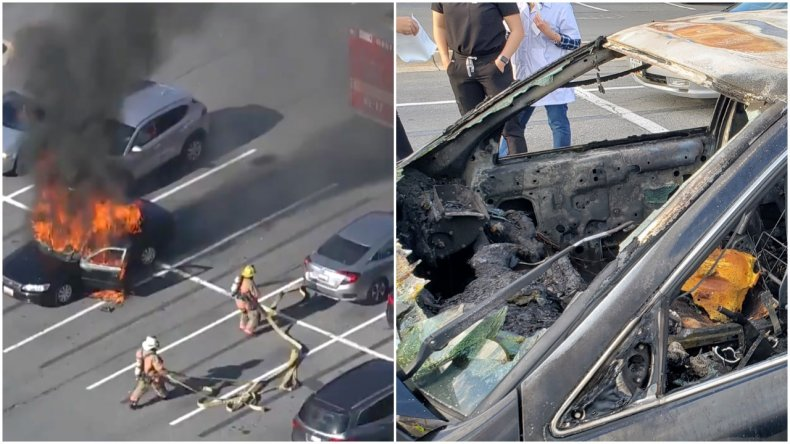 Car Burns As Driver Uses Hans Sanitizer