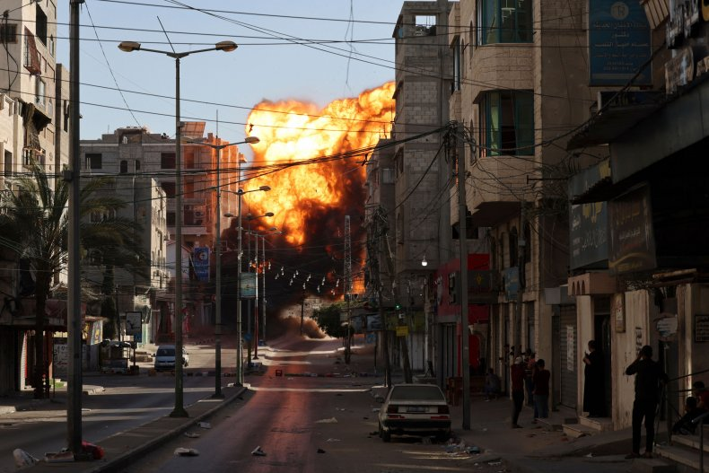 Gaza, Israel, air strike, Palestinians, bank