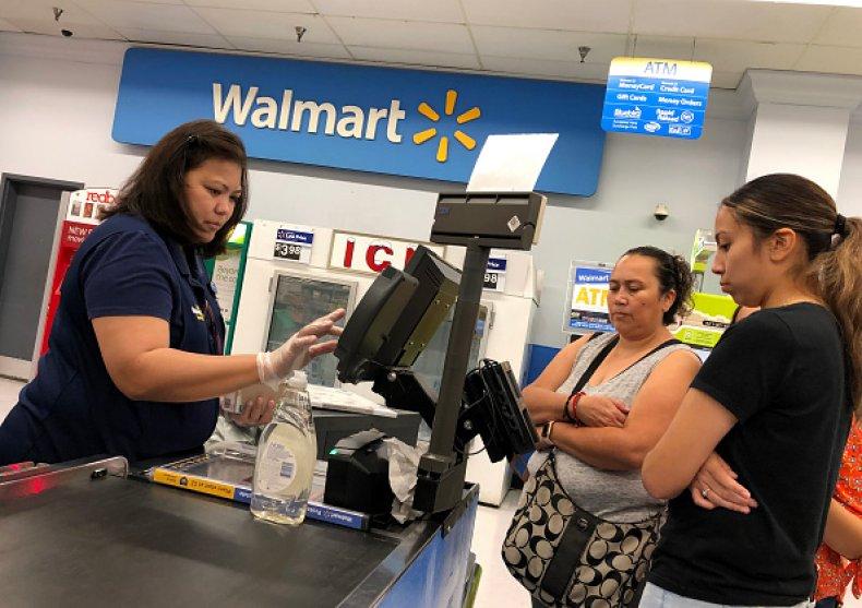 Walmart Cashier and Customers