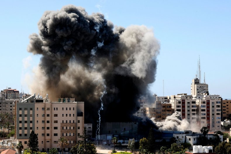 Smoke Rises from Gaza's Jala Tower
