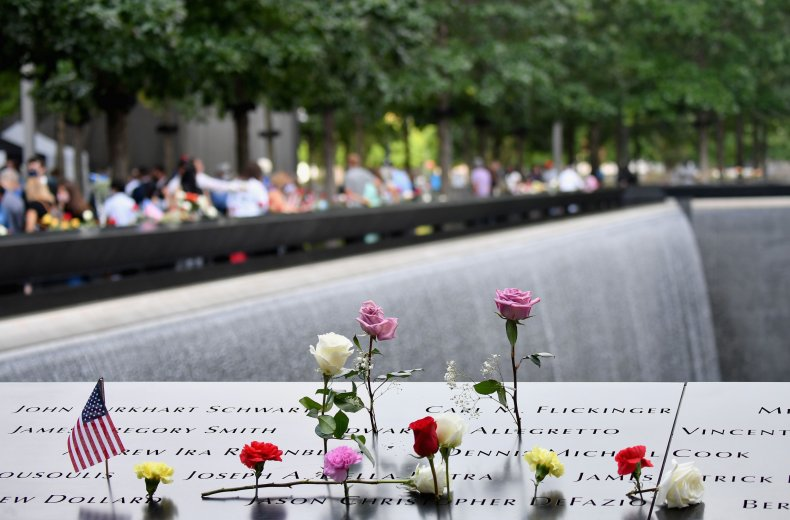 Flowers at the 9/11 memorial in NYC