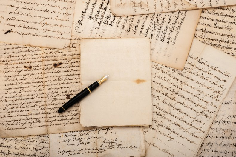 Fountain pen on antique letters.