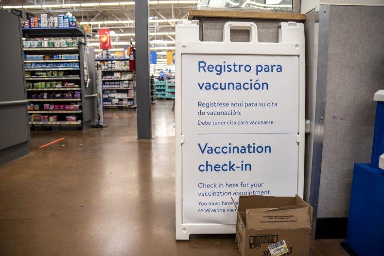 Walmart vaccine check-in area