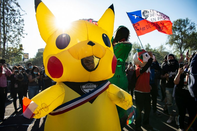 The candidate wore a Pikachu costume