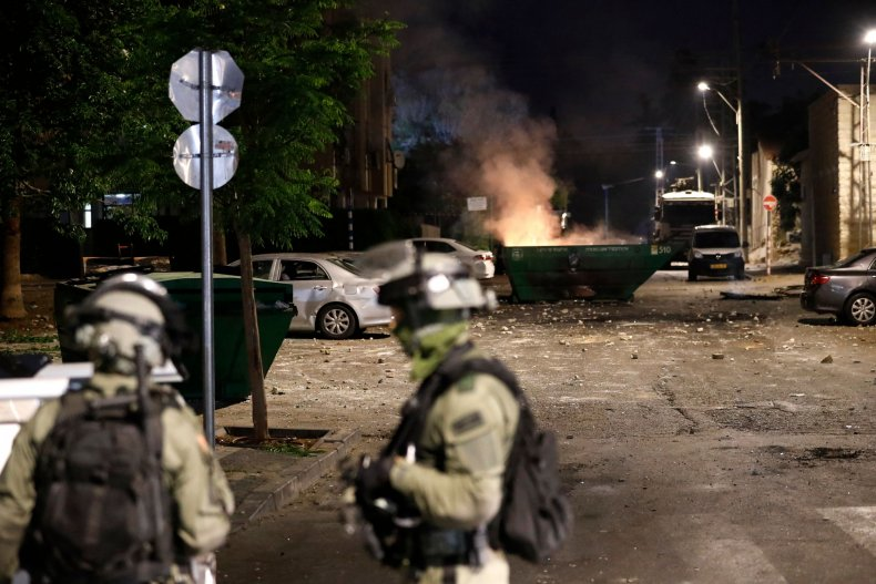 Israeli forces stand guard in Lod