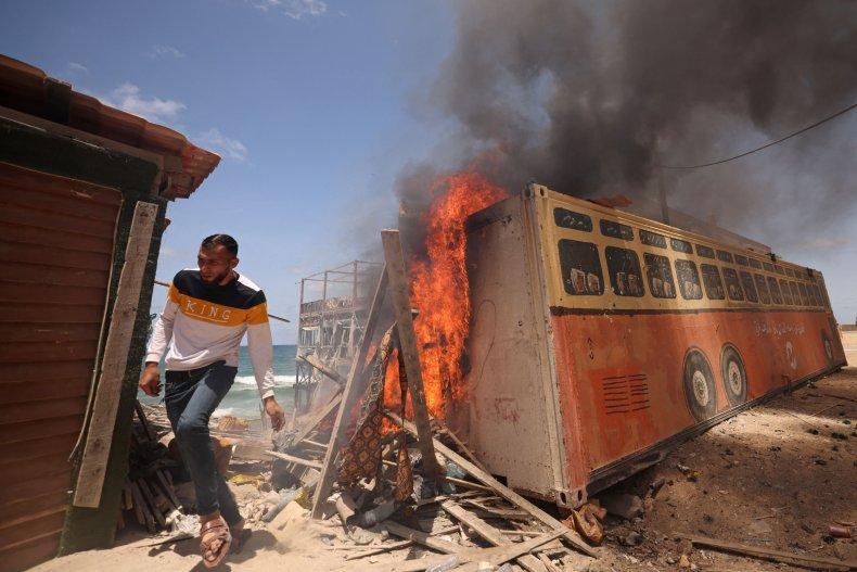 Palestinian Man After Israeli Bombardment