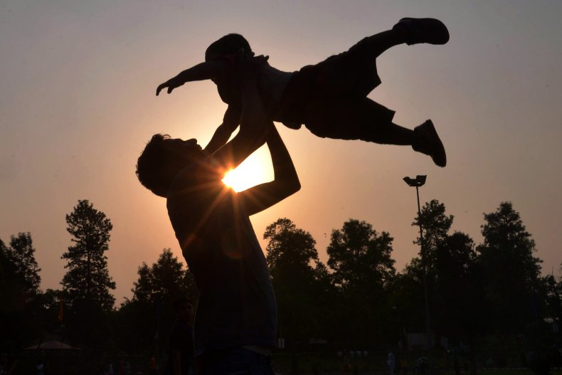parent playing with kid