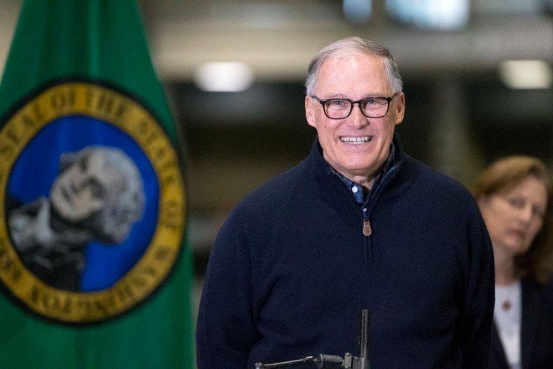Jay Inslee giving speech in Seattle