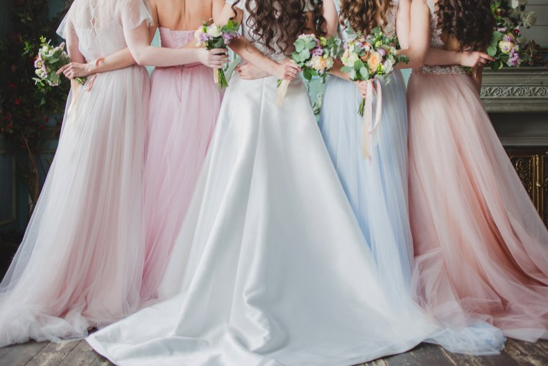 Dresses of a bridal party