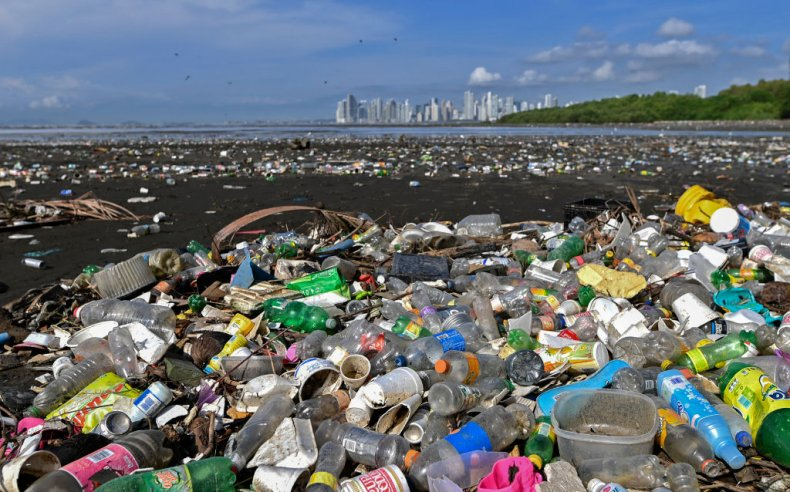 Plastic waste on a beach in Panama