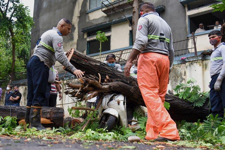 Firefighters Help Clear Debris