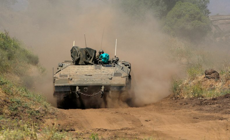 IDF tank in Golan Heights in May