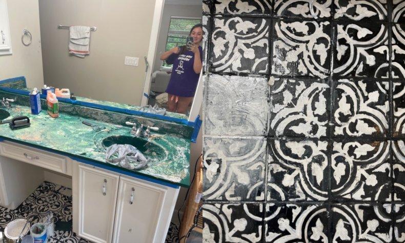 Viral bathroom renovation fail online