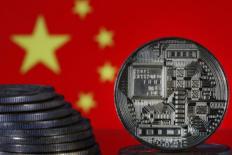 China flag with crypto token