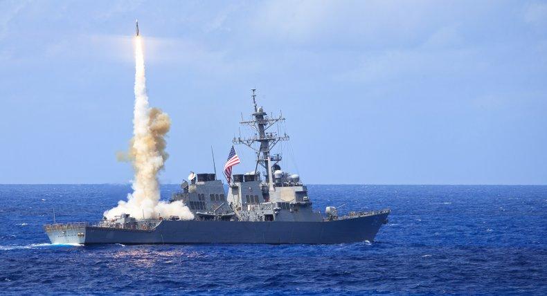 U.S. Navy Warship Conducts Firing Drills