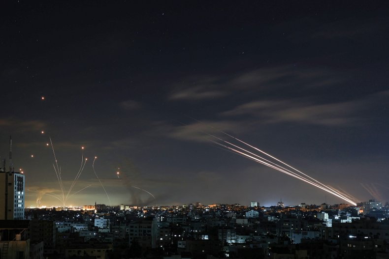 Iron Dome and Hamas rockets over Israel
