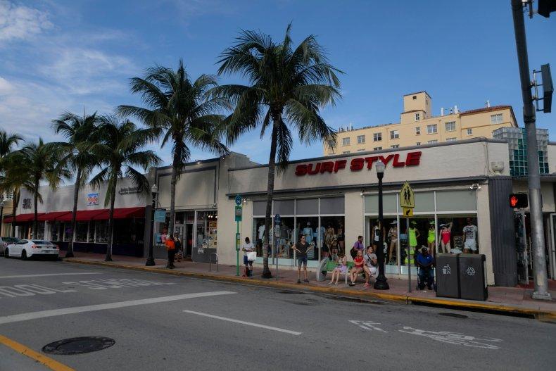 A bus stop in Miami Beach, Florida