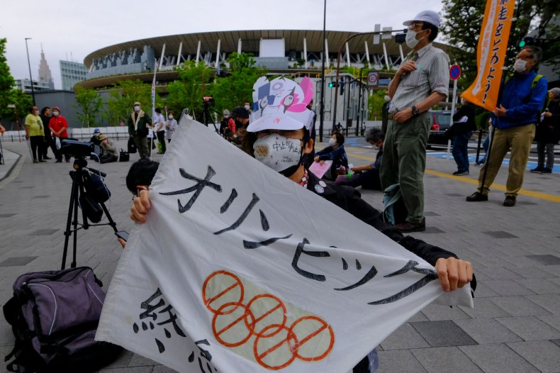 Protester against Tokyo Olympics