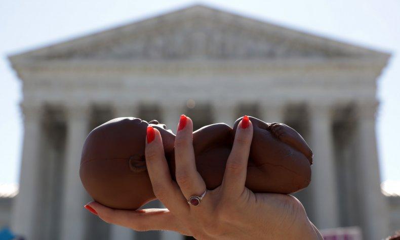 Pro-Life Activist Holds Model Fetus
