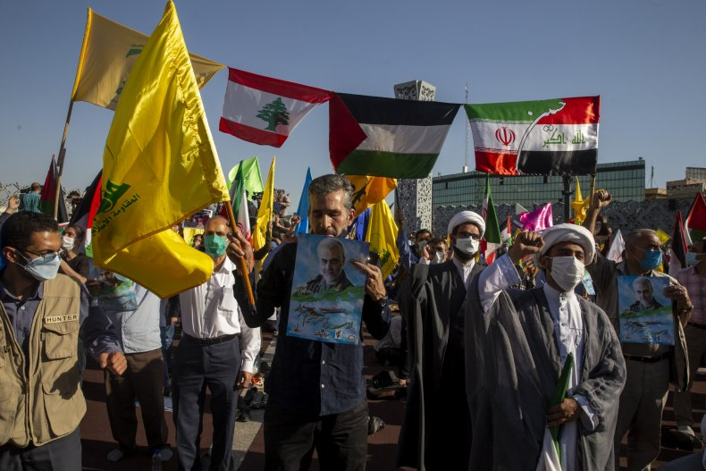 iran, tehran, protest, flags, israel