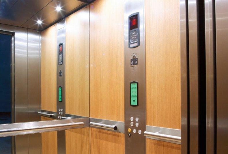 Elevator with its door open