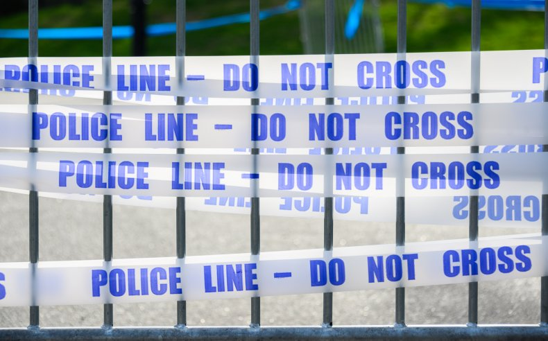Police tape is shown in this stock