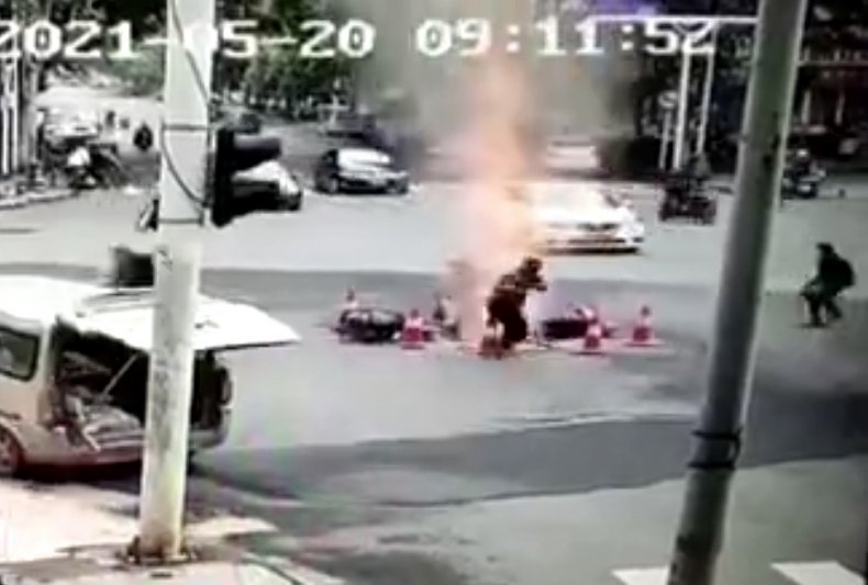 Road Erupts After Sewer Gas Explosion