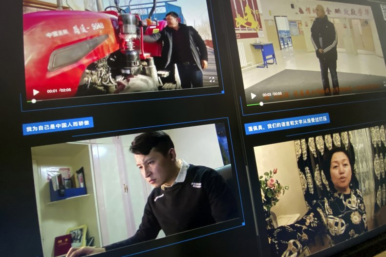 Webpage of Uyghurs video's denouncing Pompeo