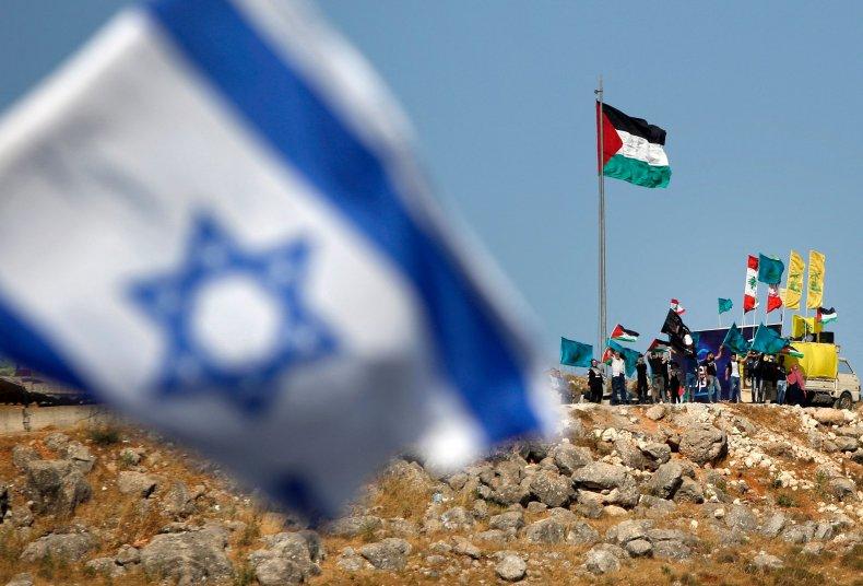 iran, lebanon, palestinian, hezbollah, flags, border, israel
