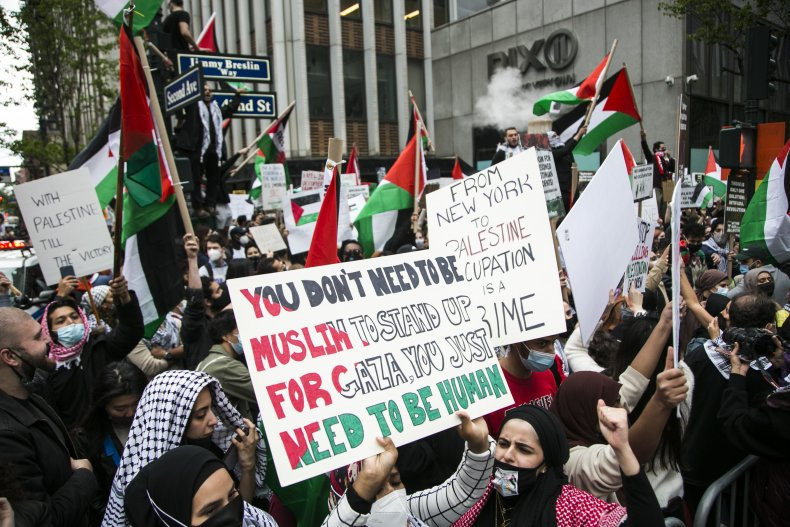 palestine israel protest times square midtown nyc