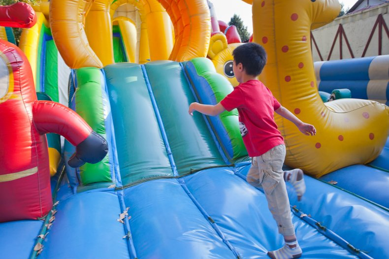 bounce house castle airborne wind kids injured