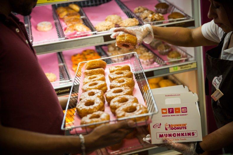 Croissant donuts at Dunkin' Donuts.