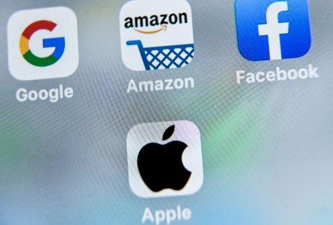 Big Tech company logos on tablet device